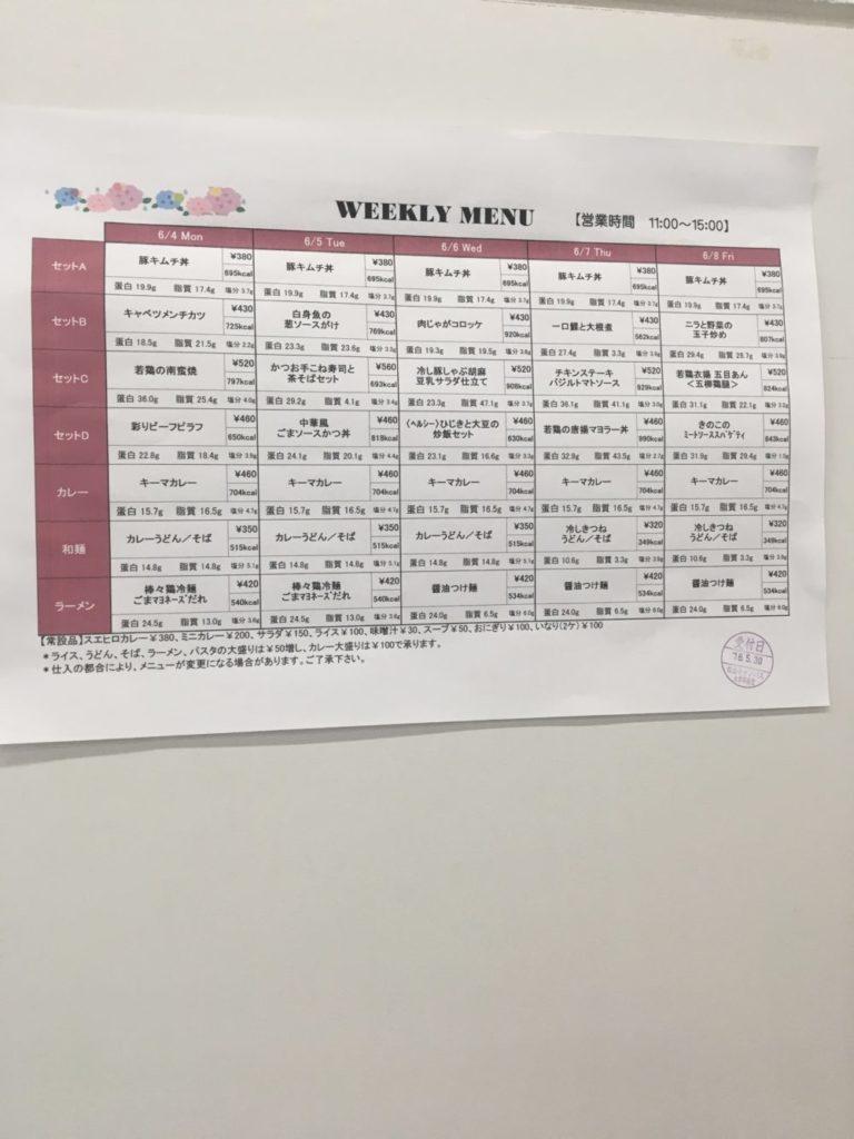 1週間のメニュー表