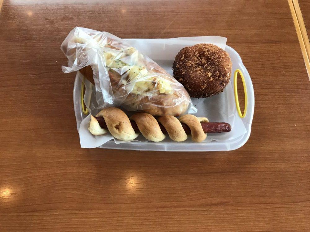 購入した3種類のパン