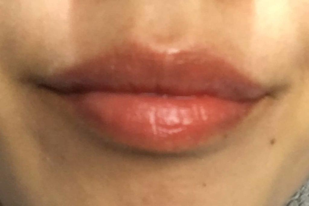 LIP38℃ リップトリートメントを塗った後の唇