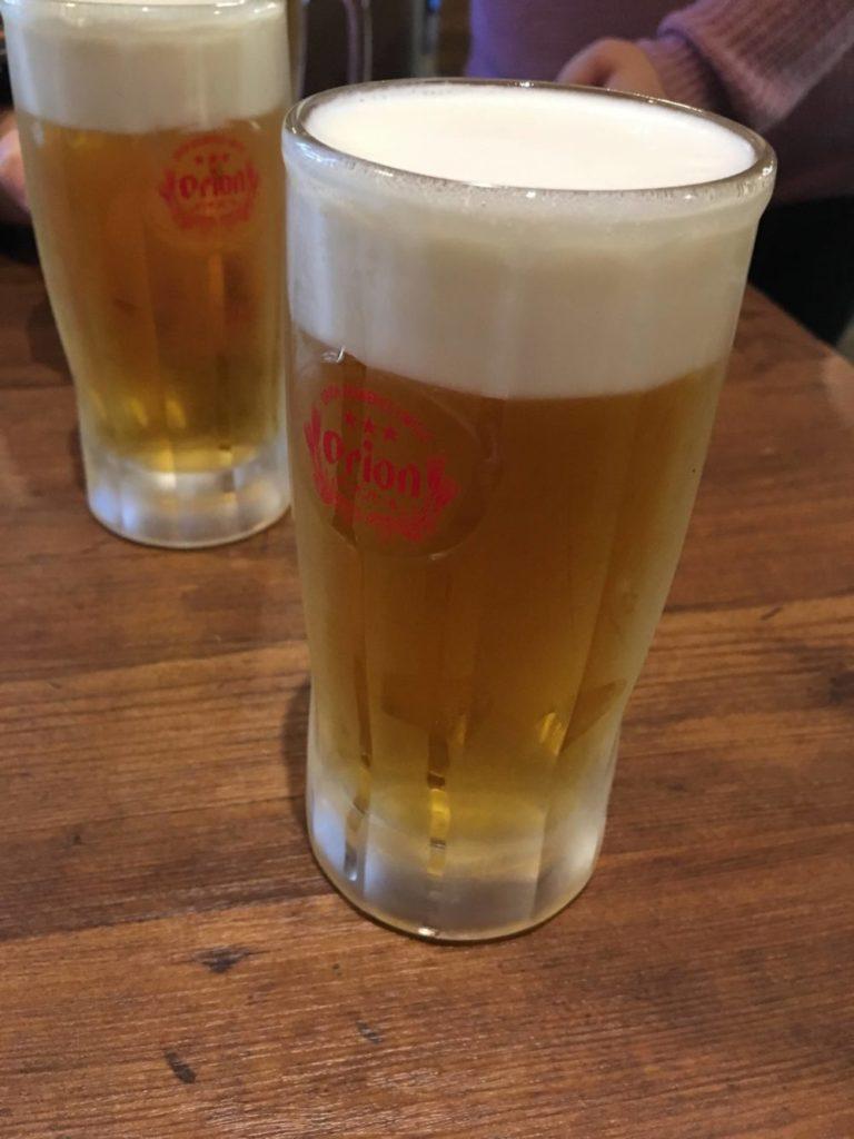 カキ小屋のオリオンビール